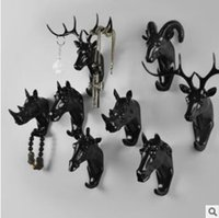 Wholesale Gold Wall Hooks - Pure Color Black White Gold Animal Head Hook Resin Craft Key Cap Cothes Claw 3D Animal Mural Decorative Hook Ornament Hanger CCA7935 50pcs