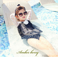 Wholesale Swimsuits For Big Girls - Hot Children Swimwear With Lace Big Flowers Dot Dot Kids Swimsuit With Cap Long Sleeve 3pcs Set Sandbeach Clothes For Girls 100-140 T651