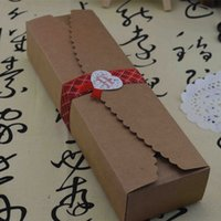 Wholesale Macaron Paper - Wholesale- Wholesale 20Pcs 23*7*4cm Hot Sale Cardboard Box Macaron Packaging Caixa Kraft Paper Boxes Jewelry Party Gift Snack Packing Box
