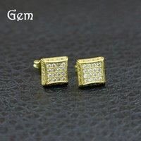 Wholesale pierced ears diamond studs resale online - 18K Gold Plated Hiphop Earrings For Mens Full Diamond Hip Hop Ear Studs Cool Hip hop Pierced Earring Jewelry