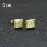 ingrosso borchie in diamanti forati delle orecchie-Orecchini in oro placcato oro 18 carati per orecchini a bottone da uomo con borchie in metallo pieno di diamanti