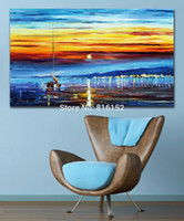 Wholesale Yacht Knife - Resting Yacht Slient Harbor Beautiful Scene Palette Knife Oil Painting Wall Art Picture Printed On Canvas For Office Home Decor