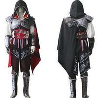 assassins creed cosplay schwarz großhandel-Assassins Creed II 2 Ezio Schwarz Flagge Cosplay Auditore da Firenze Schwarz Edition Cosplay Kostüm Nach Maß Irgendeine Größe Für Halloween Party