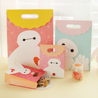 Wholesale Paper Gift Bags Orange - Cartoon Baymax Gift Bag Children Birthday Gift Color Paper Gift Wrap Packing Bag Festive Party Favors Package SD772