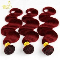 Wholesale Hair Extension Color Wine - Burgundy Malaysian Body Wave Hair Grade 8A Malaysian Virgin Hair Weave Bundles 3 4Pcs Wine Red 99J Remy Human Hair Extensions Tangle Free