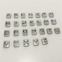 Wholesale Hollow 8mm Slide Letter - 52PCS Lot Hot 8MM Hollow Square Slide Letters A-Z Alphabet DIY Slide Charms Fit 8MM Wristbands Bracelets Belts Collars SL06