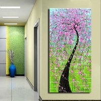 Wholesale Textured Tree Paintings - Thick Textured Modern abstract Hand painted Palette Knife Oil Painting Canvas flower tree Scenery Wall Art Gift ,Home office Decor