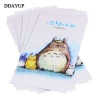 Wholesale letter stationary - Wholesale- 5Pcs pack Cute Novelty Totoro Envelope Letter Paper Message Card Letter Stationary Storage Paper Gift Letter Writing