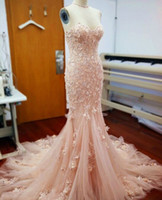Wholesale Stapless Wedding Gowns - Mermaid Stapless Wedding Dresses 2018 Real Image Bridal Gowns Winter Bride Gown Chapel Train For Wedding Party