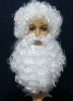 pai natal trajes venda por atacado-Natal Hallowmas homens peruca Papai Noel + barba terno April Fools 'Day traje bola Pai Natal frete grátis