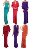 Wholesale Slinky Black Sexy Dress - Multiway Beautiful & Sexy Reversible and Convertible Slinky Jersey Maxi Blue Red Black Green Purple Light Blue V-Neck Backless Dresses