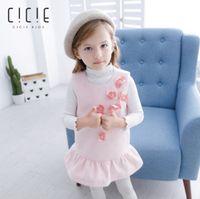Wholesale Woolen Floral Dress - Children woolen vest dress fashion girls stereo pearl flowers applique princess dress winter new kids splicing falbala dress R1341