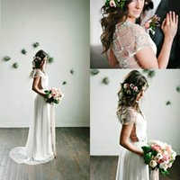 Wholesale romantic country style - Romantic V-Neck Spring Beach Beads Wedding Dresses Chiffon Bohemian Boho Garden Country Style 2018 Vestido de novia Formal Bridal Gown