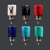 Wholesale Natural Mod - Large airflow natural stone drip tips Turquoise Stainless Steel wide bore drip tip 510 ego Atomizer Mouthpieces for e cigarette RDA mod tank
