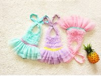 Wholesale Girl S One Piece Dresses - 2016 Dresses 3 Colors Children Girls Cake Dress One-piece With Swim Cap Swimwear Summer Kids Swimming Clothes Baby Beah Wear 1-10 Year