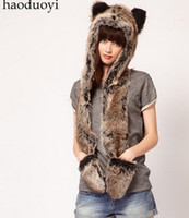Wholesale Bear Head Hat - Wholesale-New Winter Women Fashion Faux Fur Bear Head Scarf, Hat & Glove Conjoined Sets Christmas Gift F8056