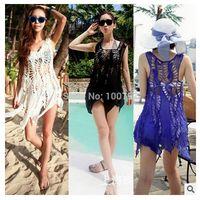 Wholesale Resort Swimwear - Summer women bikini beach cover ups Sexy Lace Hollow out crochet sleeveless bohemian seaside resort blouses swimwear holiday Dress beachwear
