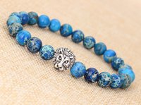 100psMASHION MEN'S BLUE SEA SEDIMENT JASPER STONE SILVER LION HEADED BRACELET 8