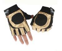 parmaksız sürme eldivenleri toptan satış-Toptan-Ücretsiz nakliye yeni 2015 yarım parmak serseri sürüş eldiven spor eldivenleri açık havada erkek deri eldiven