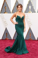 Wholesale Turquoise Blue Dress Red Carpet - Stephanie Bauer in Portia & Scarlett Glamorous Turquoise Celebrity Dresses 2016 88th Oscar Red Carpet Gowns Mermaid Long Red Carpet Gowns