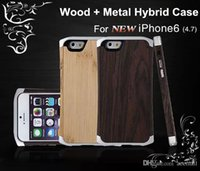 Wholesale Aluminum Cleave - For iPhone 6   6 Plus Wooden Case Wood Bamboo Aluminum Metal Hybrid Frame Small Waist Cleave Hard Back Cover w  Leather Pouch Bag 4.7 5.5
