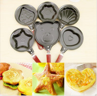 Wholesale Heart Shaped Egg Frying Pan - cooking egg tools kitchen gadgets Mini cartoon Cake tools pot Fried Egg Pancake love Heart Shape Egg non-stick Pan 200pcs