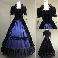 Wholesale British Dress Shirts - U Collar British Style Court Style Lace Lotus Leaf Gorgeous Bow Cosplay Short Sleeve Prom Dresses Gothic Lolita Simple Long Gowns 2018 Real