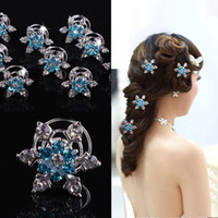 Wholesale Hair Clamps Wholesale - kids  Women bridal wedding hair jewelry Elsa snowflake hair clips girl rhinestone diamond screw clamp hairpin COSPLAY party tiaras B001