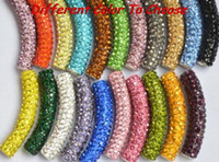 Wholesale multi shamballa bracelet - Wholesale-micro pave disco bead can choose color mixed multi color long bending tube crystal shamballa beads.bead for bracelet