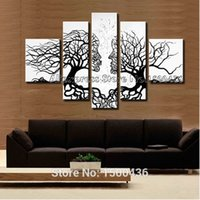 Hand Painted Abstract Lovers Kiss Trees Peinture à l'huile sur toile 5 pièces Modern Wall Art Home Decoration Set d'images