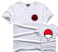 akatsuki sasuke cosplay großhandel-Sasuke T-Shirt Männer T-Shirt Anime Naruto Uchiha Familie Logo Sharingan Auge Symbol Cosplay T-Shirts Akatsuki Itachi T-Shirt