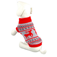 Wholesale Cheap Crochet Accessories - Wholesale-Modern Fashion cheap Deer Printing crochet dog Winter clothes sweater for pets Christmas Gift,Free shipping