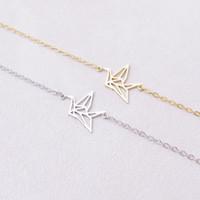 Wholesale Middle Paper - 30PCS- B017 Silver Gold Cute Origami Crane Bracelets Forest Paper Crane Bracelet Tiny Animal Lucky Baby Bird Bracelet for Women