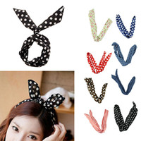 Wholesale Wired Cute Bunny Ears - Delicate 2015 Fashion 8 PCS  lot Rabbit Bunny Ear DIY Wire Cute Girl Headband Scarf Hair Band Bow Head Wrap Dot 80cm Colorful