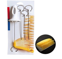 Barato Trituradores De Batatas De Cozinha-Tornado Batata Spiral Cutter Manual Slicer Spiral Francesa Fry Cutter Batata Tower Fazendo Twist Shredder Kitchen Supplies 200Pcs