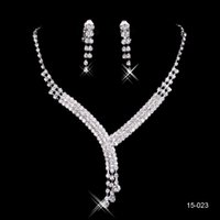 Wholesale Sterling Silver Necklace Earrings Set - Big Discount New necklace and earring set Silver plated Rhinestones Diamond Designer Evening Bangles Bridal Accessory Jewelry 15023