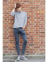 блуза длинный рукав корея оптовых-Wholesale-Men Mandarin Collar Striped Blouse 2015 Cotton Top Summer Style Man Korea Roll Up Long Sleeve Pure Fresh Casual Camisa Masculina