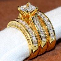 gelb topas ringe weißgold großhandel-Größe 5-11 funkelnden Modeschmuck Square 14KT gelbes Gold gefüllt Prinzessin Cut White Topas Party Edelsteine CZ Diamant Frauen Ehering