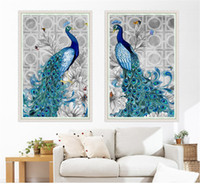 Wholesale Peacock Christmas Decor - 5D diamond embroidery diy diamond Painting peacock pictures diamond mosaic Christmas gift diamond picture home decor new year