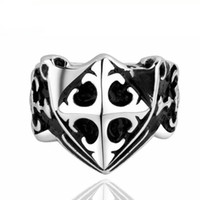 Punk Style Cross <b>Knight Rings</b> para hombre Acero inoxidable Retro Men Cluster Rings 7 8 9 Size Cool Men Rings