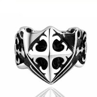 Punk Style Cross <b>Knight Rings</b> para homens Anel de aço inoxidável Retro Cluster Rings 7 8 9 Size Cool Men Rings