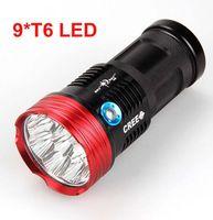 Wholesale 9t6 Led - 90W SkyRay 9x XM-L T6 LED 3Mode Hunting Flashlight 15000 Lumens Flash Light Lantern 9T6 LED Torch by 4pcs 18650 Battery