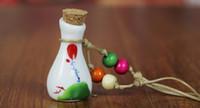 Wholesale porcelain flower pendant - murano lampwork glass pendants aromatherapy pendant Ceramic perfume bottles oil bottles drift bottles Wishing bottle ceramic necklace pendan
