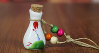 Wholesale Murano Glass Perfume Bottle Pendant - murano lampwork glass pendants aromatherapy pendant Ceramic perfume bottles oil bottles drift bottles Wishing bottle ceramic necklace pendan