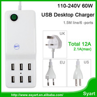 Wholesale Choose Tablet - Wholesale-Best Quality Choose UK US EU Plug 110-240V 60W 12A 6 Ports USB Deaktop Charger For Phone Tablet USB Wall Charger Power Adapter