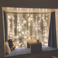 ingrosso le luci scintillanti delle stelle di stringa-Twinkle Star 300 LED tenda della tenda della tenda della finestra per la festa nuziale casa giardino camera da letto all'aperto decorazioni per parete interna (bianco caldo)