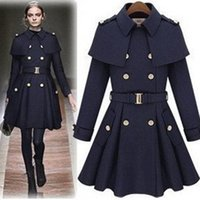 Wholesale Double Breasted Wool Cape Coat - New monde slim women's coats women's trench coats women's coats Women Outwear Cape-style woolen coat
