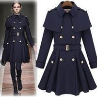 gabardina de capa de lana de las mujeres al por mayor-Nuevos monde slim abrigos de mujer gabardinas de mujer abrigos de mujer Outwear de mujer abrigo de lana de Cabo