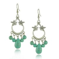 Wholesale Turquoise Beads Wholesale Prices - Vintage silver birds beads drop Earrings Factory price for Cute 2 bird lover with turquoise beads Earrings for girls (E0131)