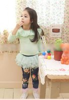 Wholesale Skirts Leggings Flowers - New 2015 Autumn Korean Girls Clothes Tutu Skirt Leggings Children Clothing Elastic Cotton Flowers Tights Kids Pink Blue Long Pants